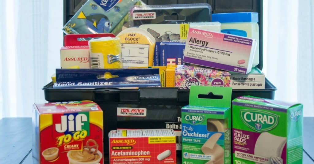 Image of first aid supplies sitting on table