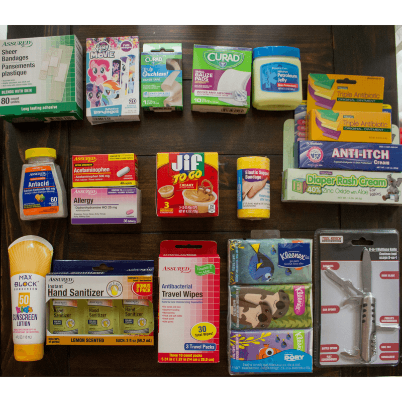 Image of first aid supplies sitting on a table