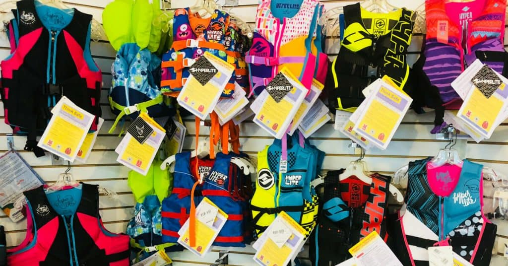Store display of many different Infant Life Jackets