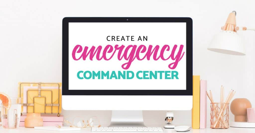 image of desktop with computer screen that reads create an emergency command center