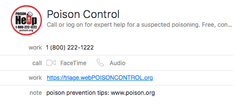 graphic of poison control's contact information