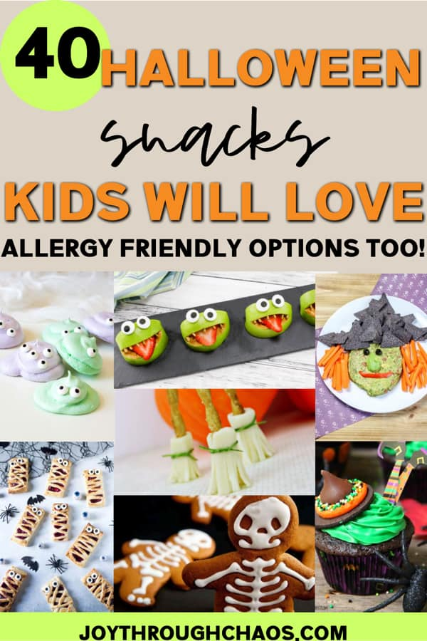 collage of halloween snacks for kids