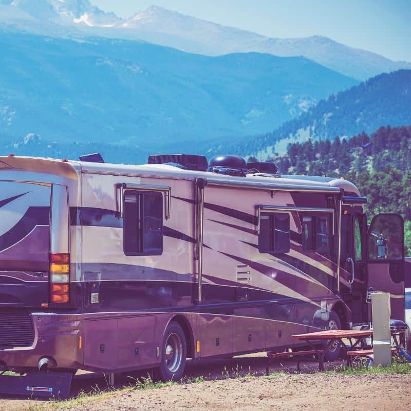 Image of Class A in a campsite
