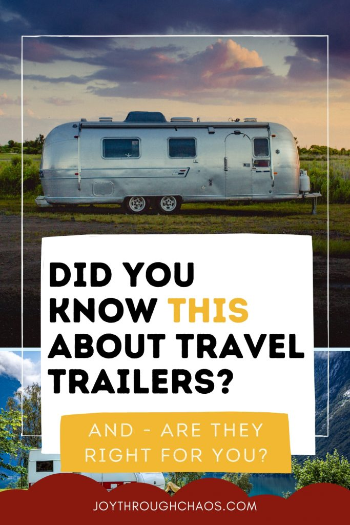 Travel trailer with sunset behind